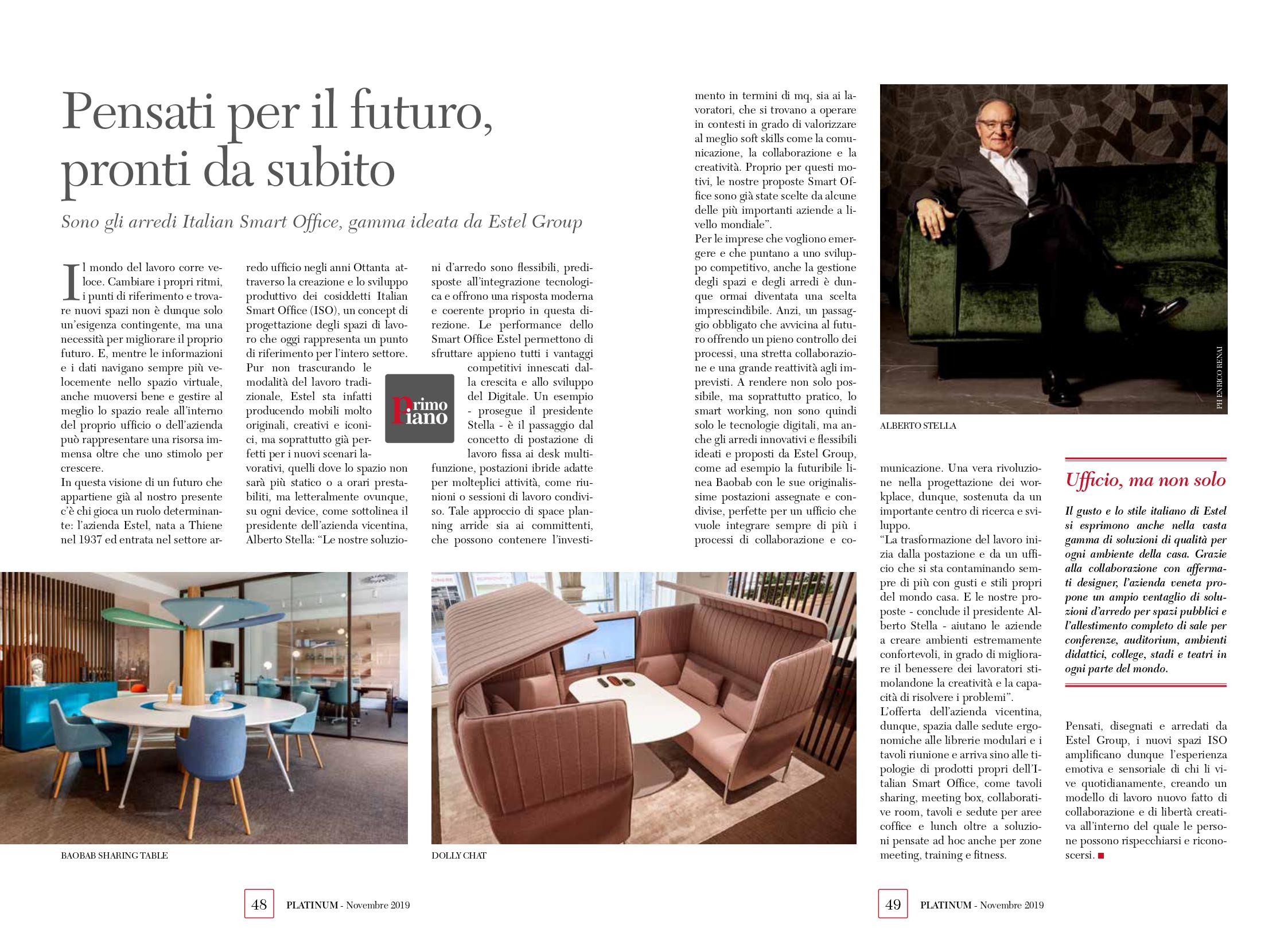 Alberto Stella su rivista Platinum